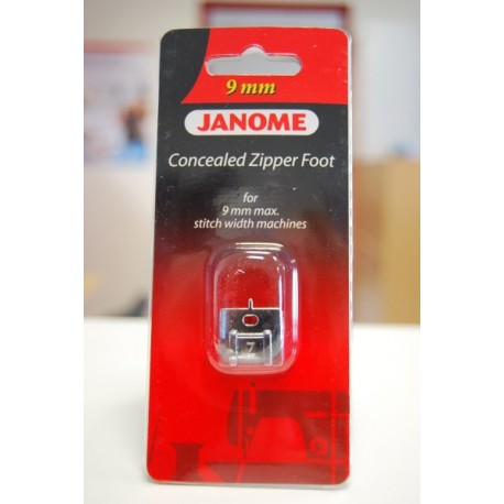 Pied fermeture invisible Janome 9 mm 202144009