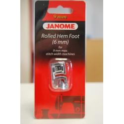 Pied roulotté 6 mm Janome 9 mm 202080006