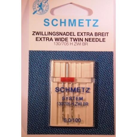 1 aiguille double 6 mm Schmetz