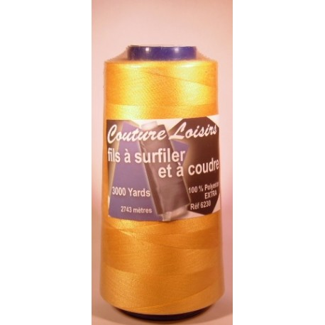 Cône 2743 m polyester jaune 6230-104 couture & surfilage