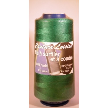 Cône 2743 m polyester vert 6230-136 couture & surfilage